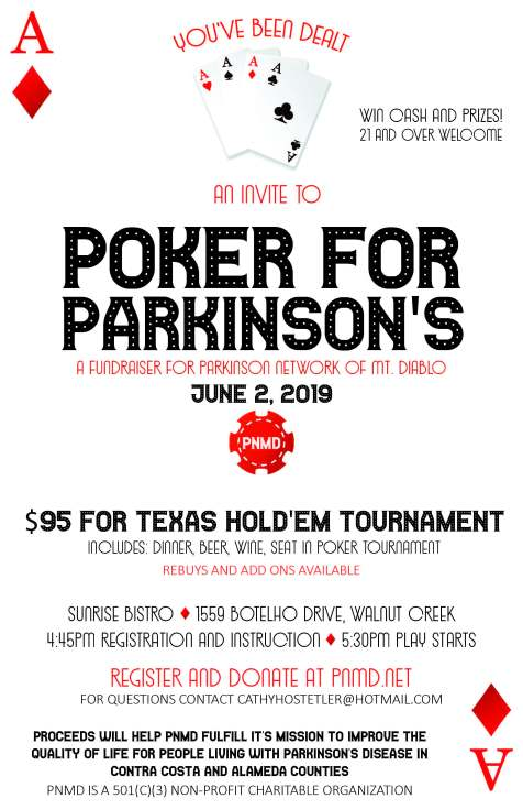 flyer image for PNMD poker tournament with information about event